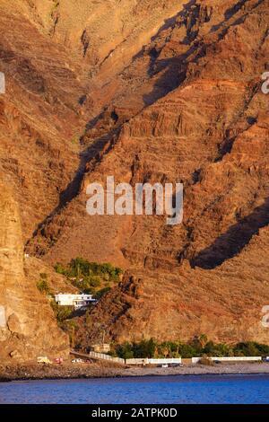 Playa de Argaga and Argaga Gorge near Vueltas, Valle Gran Rey, La Gomera, Canary Islands, Spain - Stock Photo