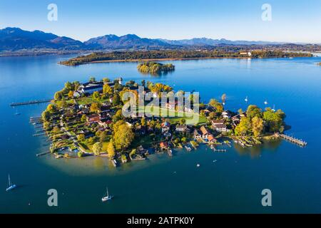 Fraueninsel, Frauenchiemsee, behind Krautinsel and Herreninsel, Chiemsee, Alps, Chiemgau, aerial view, Alpine foreland, Upper Bavaria, Bavaria - Stock Photo