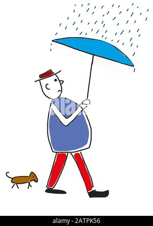 Naive illustration, children's drawing, man with dog and umbrella walking through the rain, Germany - Stock Photo