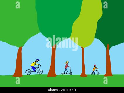 Naive illustration, children's drawing, children cycling, Germany - Stock Photo