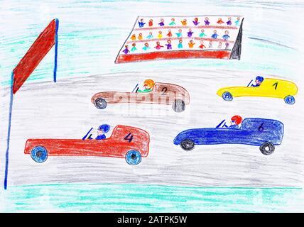 Naive illustration, children's drawing, car racing, Germany - Stock Photo
