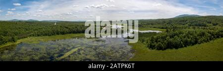 Aerial view of Mud Pond with Mount Monadnock, Dublin, New Hampshire, USA - Stock Photo