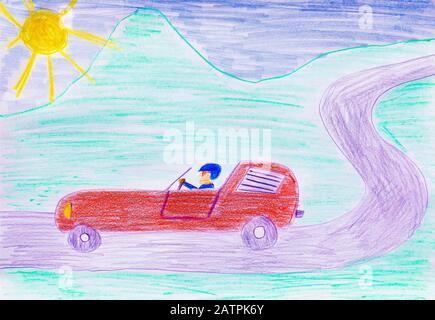 Naive illustration, children's drawing, sports car, car racing, Germany - Stock Photo