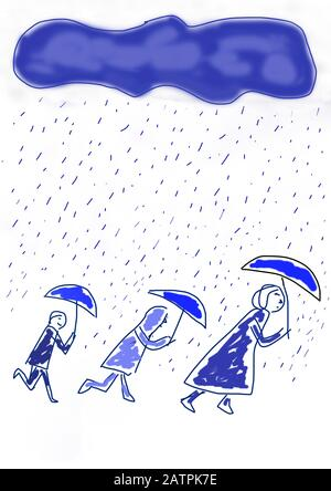 Naive illustration, children's drawing, people with umbrellas walking through the rain, Germany - Stock Photo