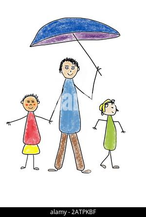 Naive illustration, children's drawing, family standing under an umbrella, Germany - Stock Photo