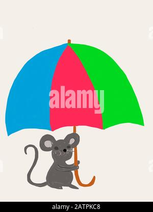 Naive illustration, children's drawing, A mouse sitting under a colorful umbrella, Germany - Stock Photo