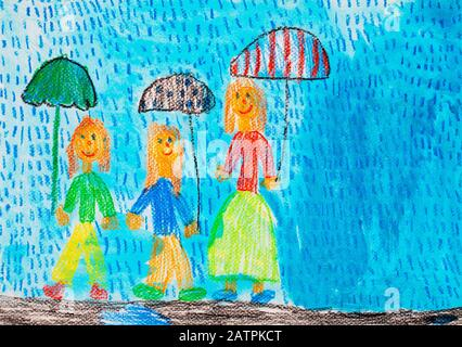 Naive illustration, children's drawing, children with umbrella standing in the rain, Germany - Stock Photo
