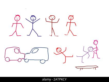 Naive illustration, children's drawing, stick figure, car accident,Germany - Stock Photo
