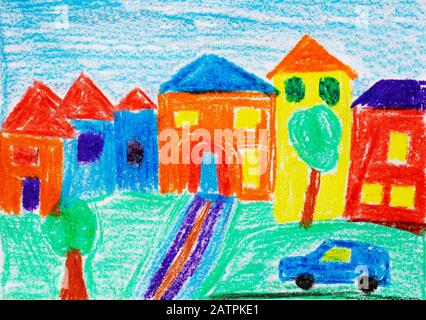Naive illustration, children's drawing, houses with garden and car, Germany - Stock Photo