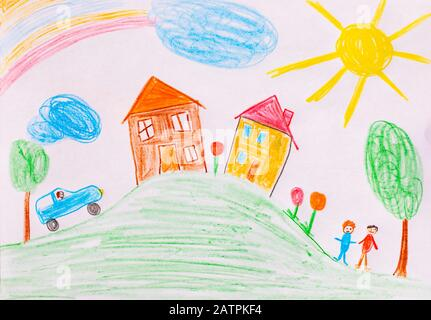 Naive illustration, children's drawing, happy family with, garden, sunshine and house, Germany - Stock Photo