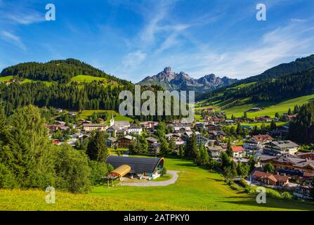 Filzmoos with mountain peak Bischofsmuetze, Pongau, Province of Salzburg, Austria - Stock Photo