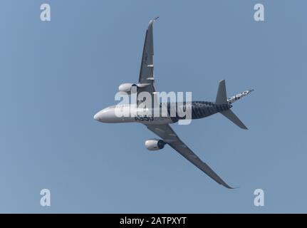 Moscow Russia Zhukovsky Airfield 31 August 2019: Passenger aircraft Airbus A350 in the demonstration flight of the international aerospace salon MAKS- - Stock Photo