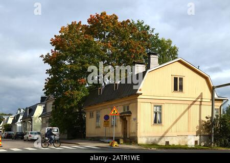 Area of old wooden traditional finnish houses of 19th century - Stock Photo