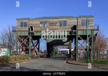 Egerton Bridge, example of a Scherzer rolling lift bridge, Egerton Wharf, Birkenhead - Stock Photo