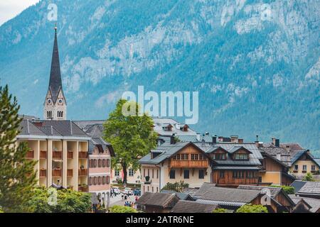 panoramic view of hallstatt city in austria