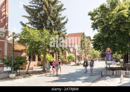 People walking through mall, Helena, Montana, USA - Stock Photo