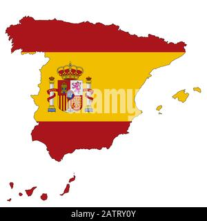 A Spain map on white background with clipping path - Stock Photo