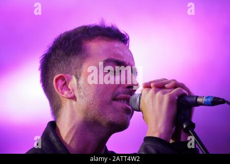 Turin, Italy. 14th September 2018. The Italian songwriter Diodato sings at the Proxima Festival in Turin. Credit: MLBARIONA/Alamy Stock Photo - Stock Photo