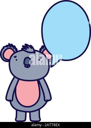 cute koala speech bubble cartoon on white background vector illustration - Stock Photo