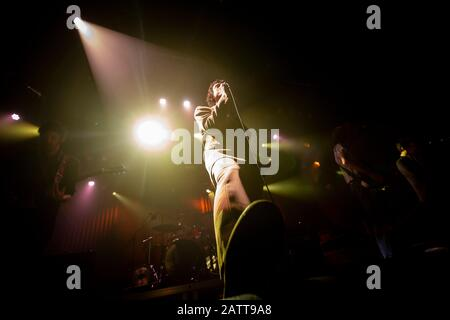 English rock band, Fat White Family, are seen performing live at stage at Hard Club in Porto, Portugal. - Stock Photo