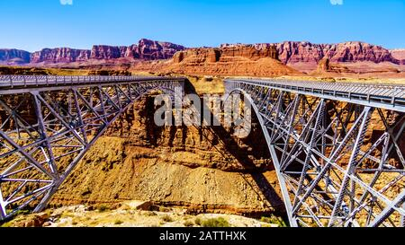 Old and New Navajo Bridge of U.S. Highway 89 A, over the Colorado River at Marble Canyon in Glen Canyon National Recreation Area, near Page, Arizona