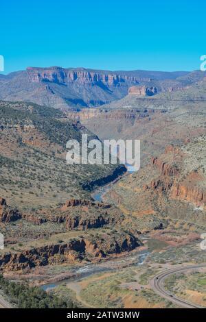 Scenic Beauty of Salt River Canyon in Gila County, Tonto National Forest, Arizona USA - Stock Photo
