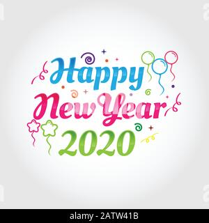 2020 colorful Text isolated on black background, New Year 2020, 2020 text for Calendar New years, Happy New Year 2020,2020 Beginning concept, Number 2 - Stock Photo