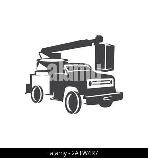 Service Truck vector icon. Cherry picker filled flat sign for mobile concept and web design. Bucket truck glyph icon. Symbol, logo illustration. Vecto - Stock Photo