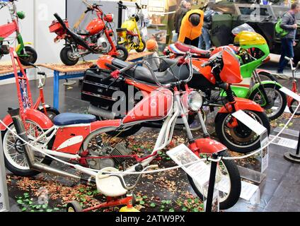 Leipzig, Germany. 02nd Feb, 2020. At the motorcycle fair on the New Exhibition Grounds in Leipzig (31.01.-02.02.2020), the Vehicle Museum Staßfurt is exhibiting historic motorcycles. Credit: Waltraud Grubitzsch/dpa/Alamy Live News - Stock Photo