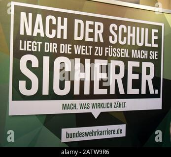 Leipzig, Germany. 02nd Feb, 2020. At the motorcycle fair on the New Exhibition Grounds in Leipzig (31.01.-02.02.2020) the Bundeswehr stand will display the advertising slogan 'After school the world is at your feet. Make her safer. Do what really matters.' Credit: Waltraud Grubitzsch/dpa/Alamy Live News - Stock Photo
