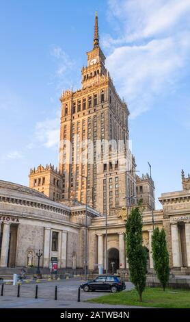 The Palace of Culture and Science (1955) is a Soviet designed skyscraper in central Warsaw, Poland. - Stock Photo