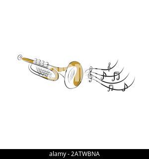 Trumpet illustration, drawing, engraving, ink, line art, vector - Stock Photo
