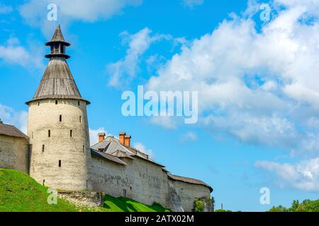 Pskov, the Eastern wall of Pskov Krom with the Middle tower, a historical landmark