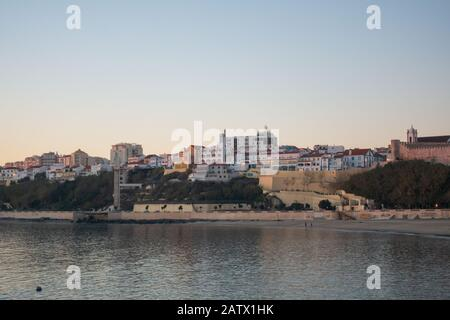 Sines beach at sunset in Portugal - Stock Photo