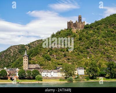 RHINELAND-PALATINATE, GERMANY - 7/6/2019:  RHINELAND-PALATINATE, GERMANY - 7/6/2019:  Maus Castle set on a hillside overlooking the village of Wellmic