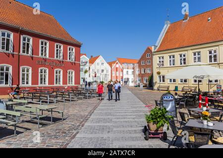 Colorful restaurants and pubs at the Torvet square in Tonder, Denmark - Stock Photo