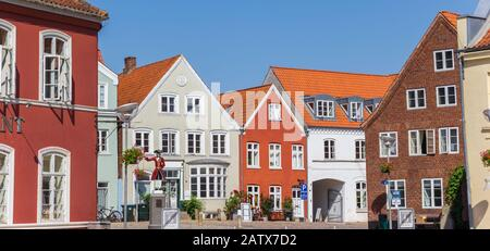Panorama of colorful houses at the Kagmanden square in Tonder, Denmark - Stock Photo