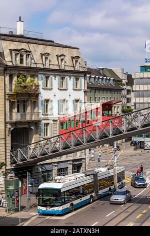 Central Platz, Polybahn, funicular railway, bus, transport, Zurich, Canton Zurich, Switzerland - Stock Photo
