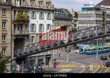 Central Platz, Polybahn, funicular railway, bus, transport, Zurich, Canton Zurich, Switzerland - Stock Photo