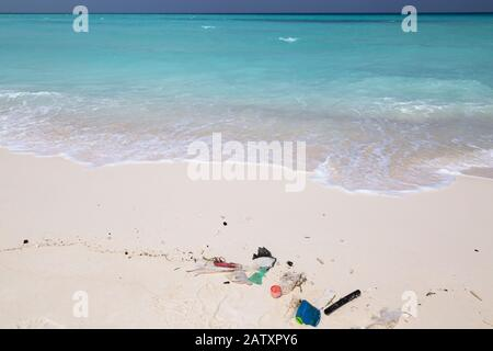 Plastic pollution; plastic waste washed up on a beach in the Maldives, Indian Ocean, Asia