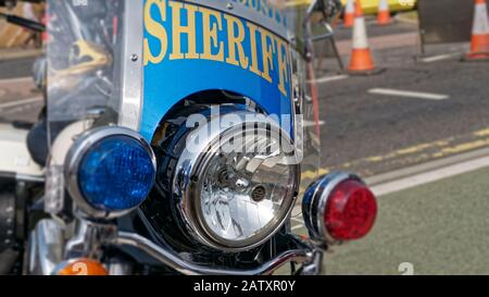 Front view of a Harley Davidson Police Motorbike, Harley Davidson were founded in 1903 in Milwaukee, Wisconsin, America - Stock Photo