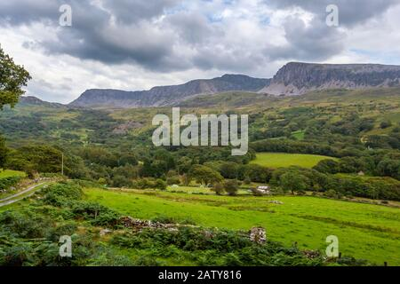 A view of the North side of the Cadair Idris Mountain Range, Snowdonia National Park, North Wales - Stock Photo