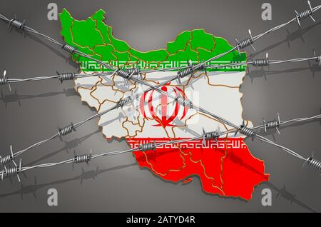 Map of Iran with barbed wire, 3D rendering on grey background - Stock Photo