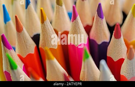 A lot of colored pencils in a close-up Stock Photo