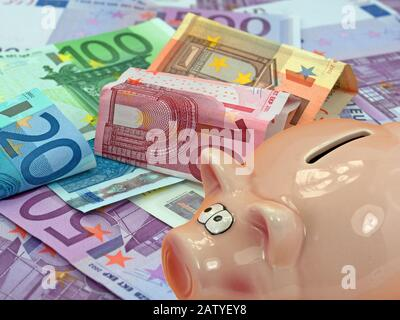 Piggy bank and lots of euro banknotes - Stock Photo