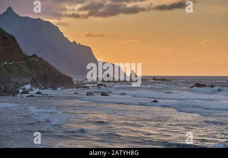 Benijo beach next to the village of Almaciga. Tenerife - Canary Islands - Stock Photo