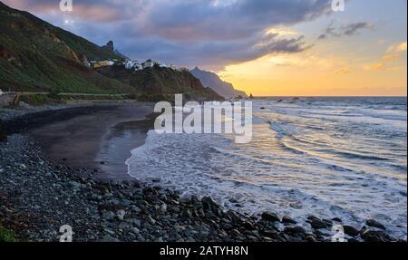 Almaciga beach next to Benijo beach. Tenerife - Canary Islands - Stock Photo