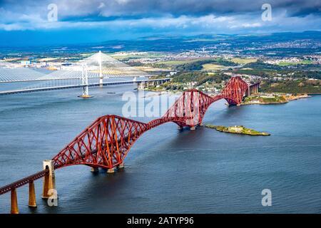 Aerial view of Forth Bridge