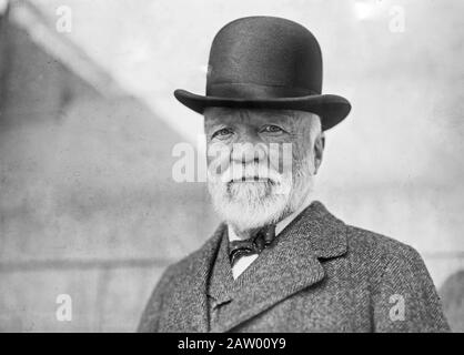 Andrew Carnegie on return from his annual visit to Europe. - Stock Photo