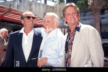 February 5, 2020: KIRK DOUGLAS (born Issur Danielovitch, December 9, 1916 - February 5, 2020) actor, producer, director author, and an icon of Hollywood's Golden Age, has died at 103. PICTURED: September 10, 1997, Hollywood, California, USA: Actors JACK NICHOLSON, KIRK DOUGLAS and MICHAEL DOUGLAS at the Michael Douglas Hand & Foot Prints ceremony at the Chinese Theater. (Credit Image: © Kathy Hutchins/ZUMA Press) - Stock Photo